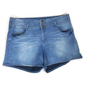 Revolution Revolt High Waist Blue Denim Shorts